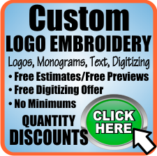 CLICK HERE for detailed information on custom Logo Embroidery, costs and pricing examples